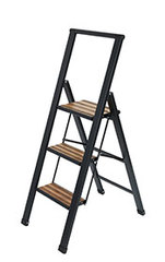 Alu-Leiter Alu/Bambus 3-stufig